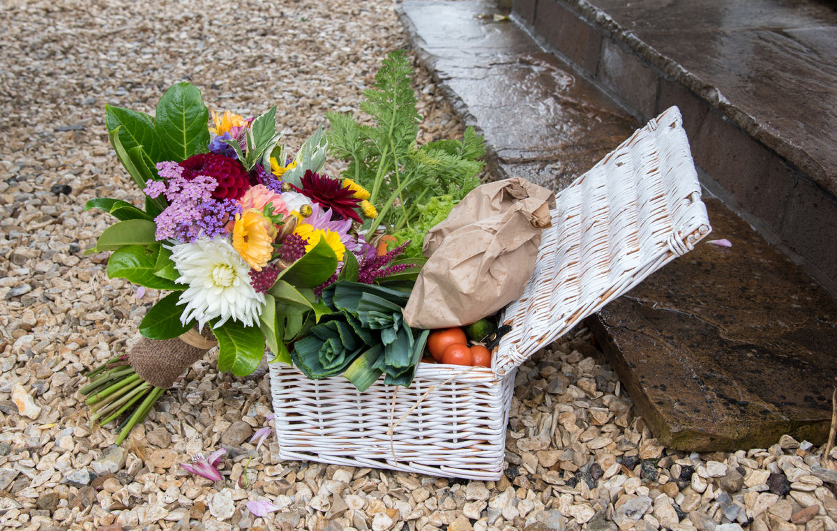 Garden produce presented to The Duke and Duchess of Netherthird